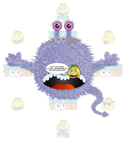 Purple Furry Monster With Two Eyes On Top Of Head No Legs And A Tail