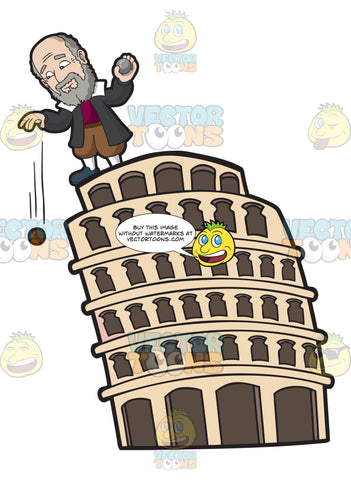Galileo Galilei Dropping Dropping A Wooden Ball And Iron Ball From The Leaning Tower Of Pisa