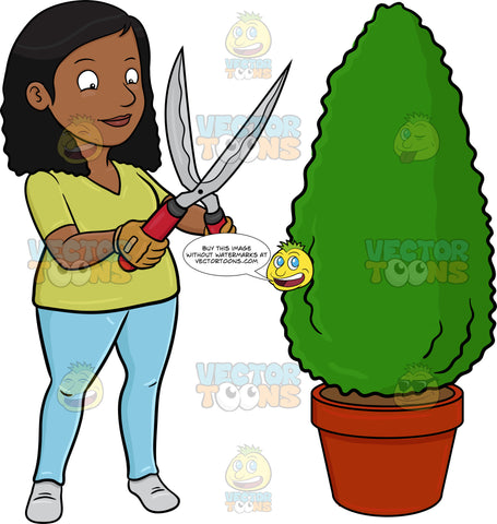 A Black Woman Using A Shears To Shape A Hedge On A Garden Pot