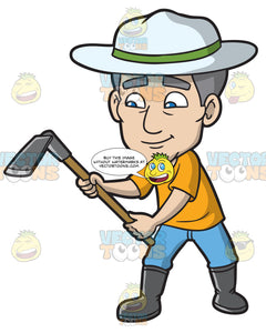 A Mature Man With A Digging Tool