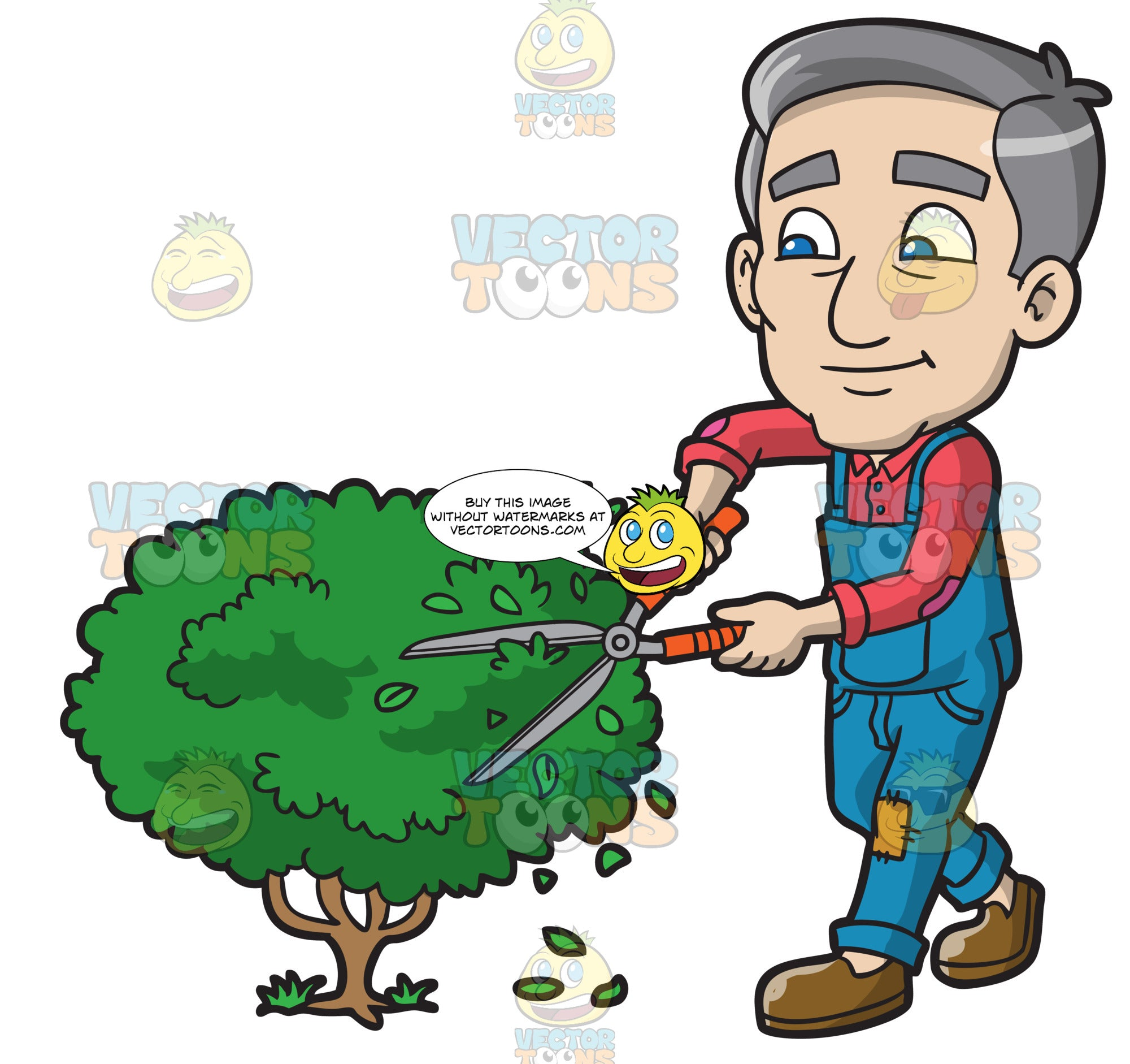 A Mature Man Cutting The Shrubs