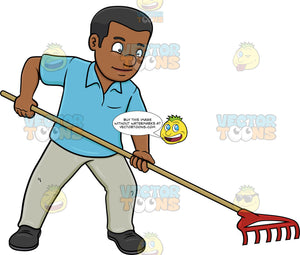 A Black Man Using A Garden Rake