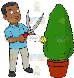 A Black Man Using A Shears To Shape A Hedge On A Garden Pot
