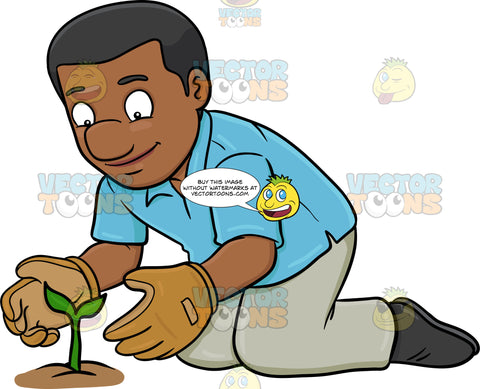 A Black Man Taking Good Care Of A Growing Plant