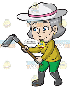 A Mature Woman With A Digging Tool