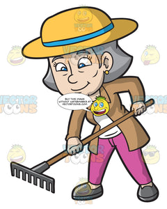 A Mature Woman Plowing The Garden With A Rake