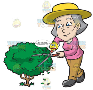 A Mature Woman Cutting A Shrub