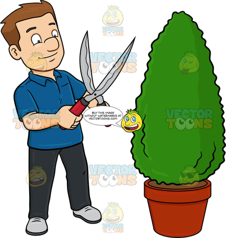 A Man Using A Shears To Shape A Hedge On A Garden Pot