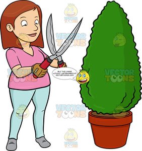 A Woman Using A Shears To Shape A Hedge On A Garden Pot