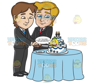 A Married Gay Couple Slicing Their Wedding Cake