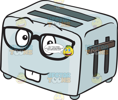 Geek Looking Pop Up Toaster Emoji