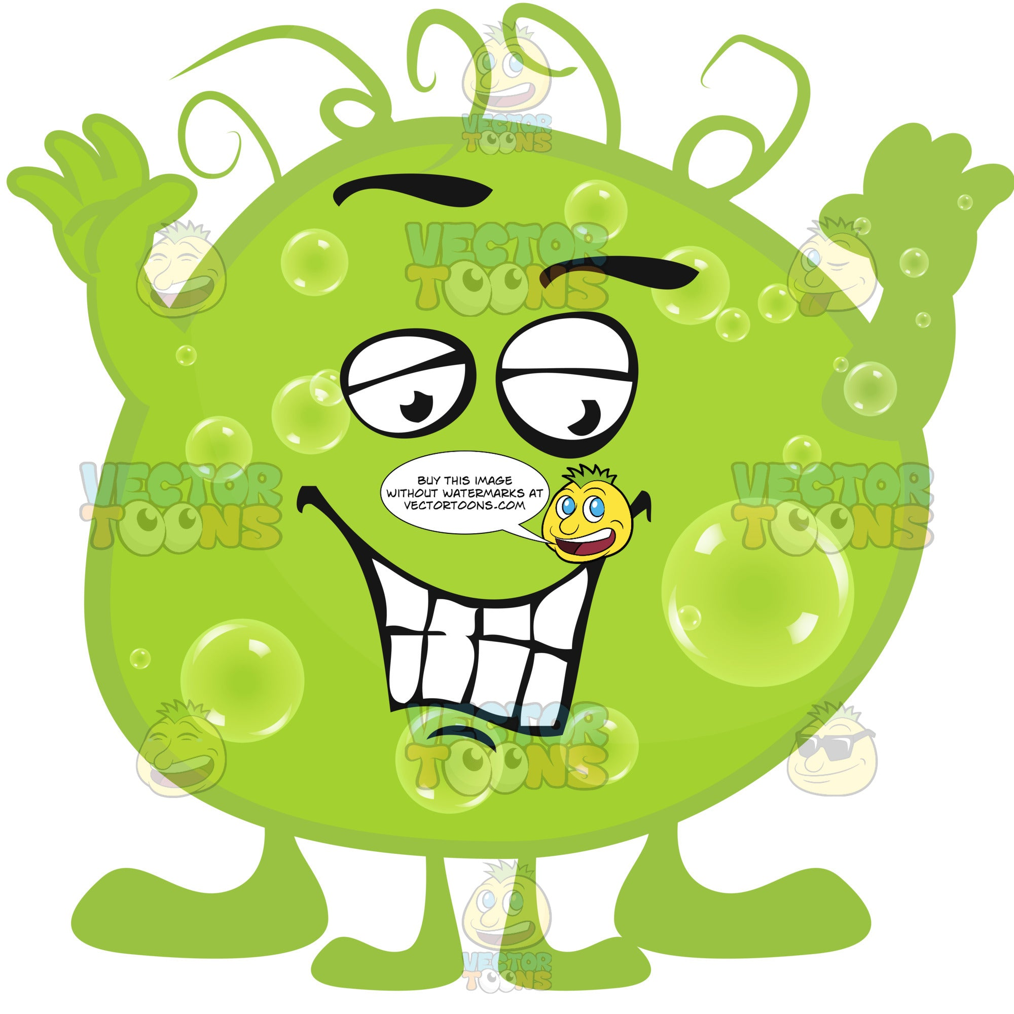 Green Blob Germ With Smiling Face And Hands In Air