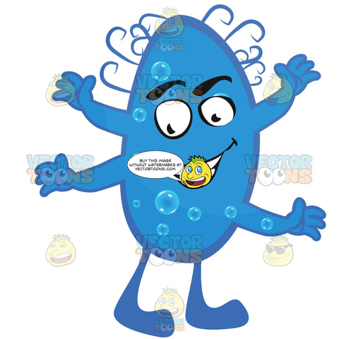 Blue Round Virus Germ With Smiling Face, Legs And Multiple Arms