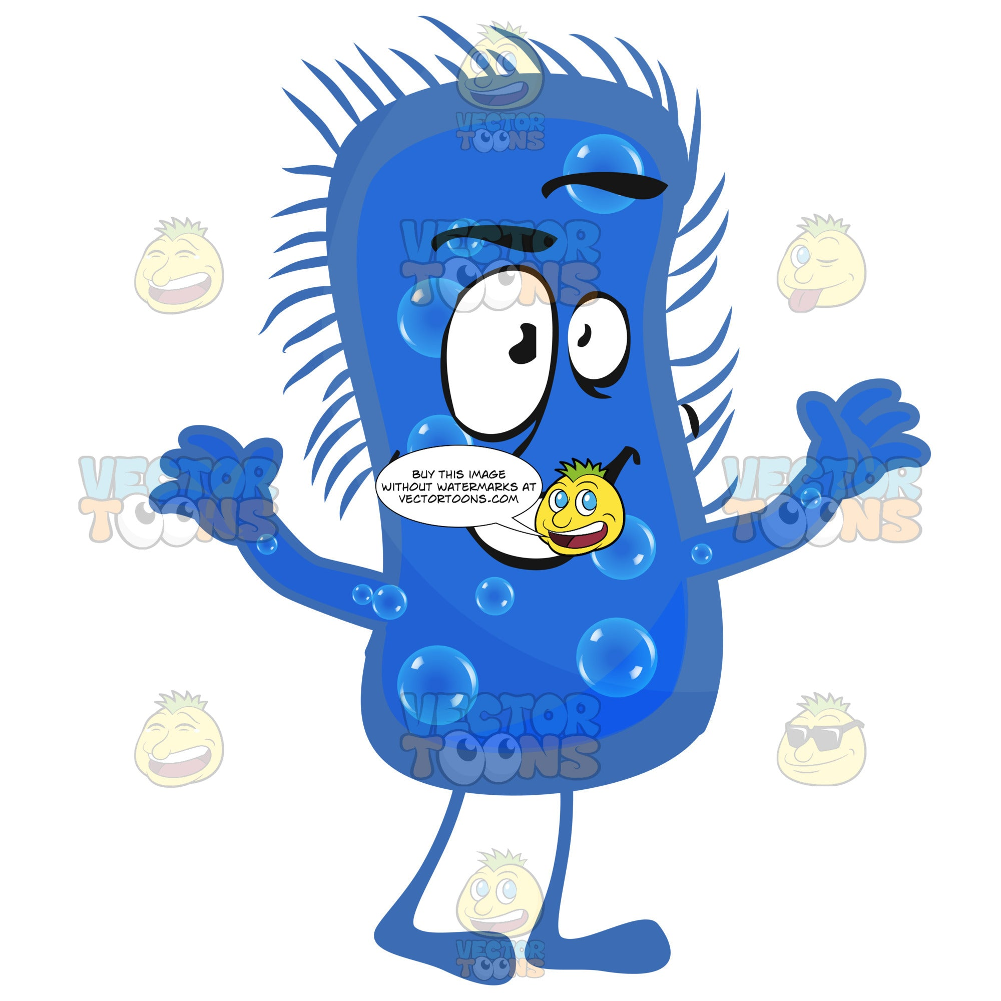 Peanut-Shaped Blue Bacteria Germ With Smiling Face, Legs And Arms