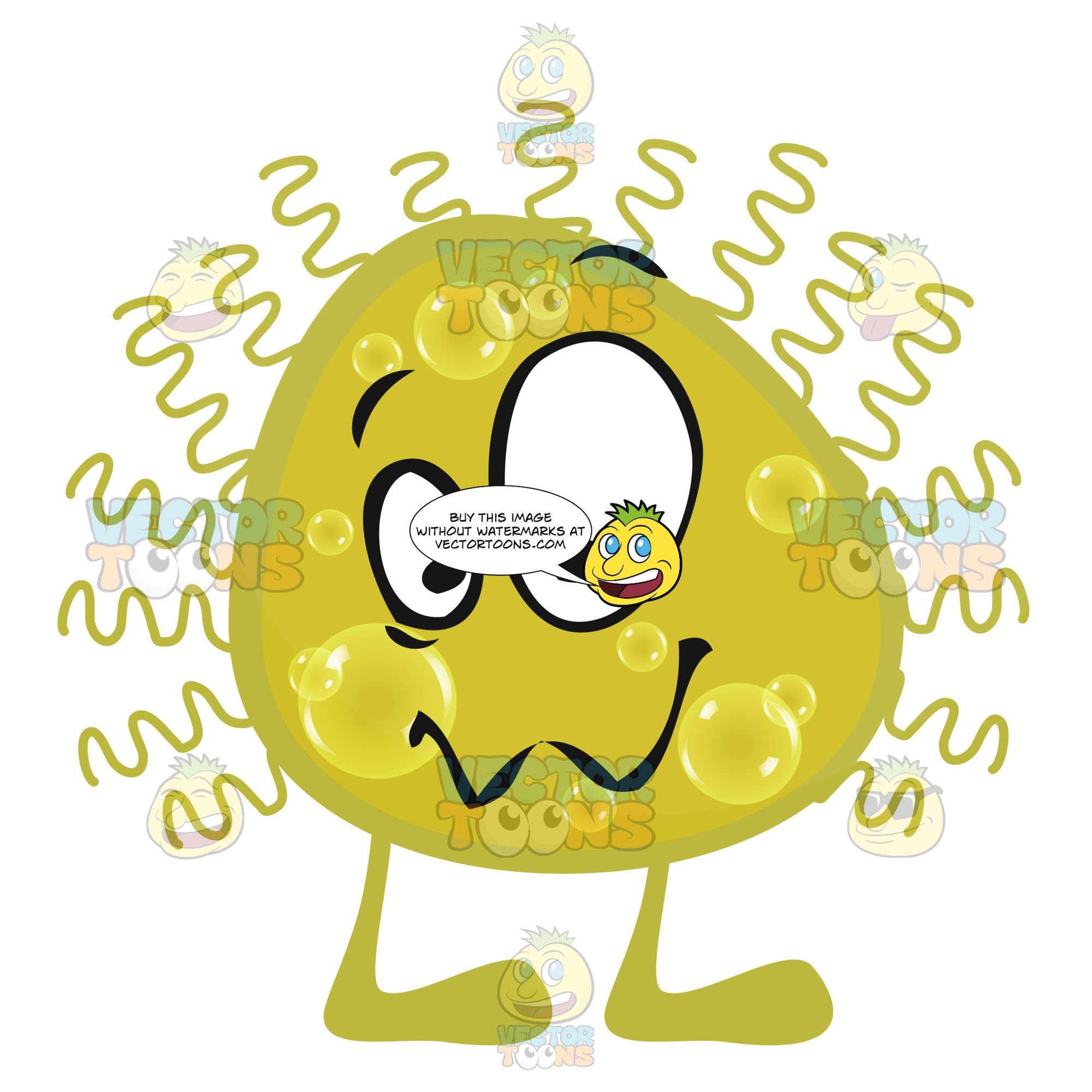 Yellow Round Germ Virus Cell With Face Legs And Hair