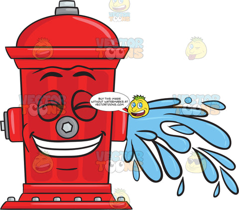 Giddy Looking Fire Hydrant While Flushing Water Emoji