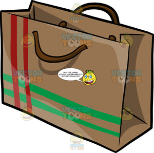 A Gift Bag With Red And Green Stripes