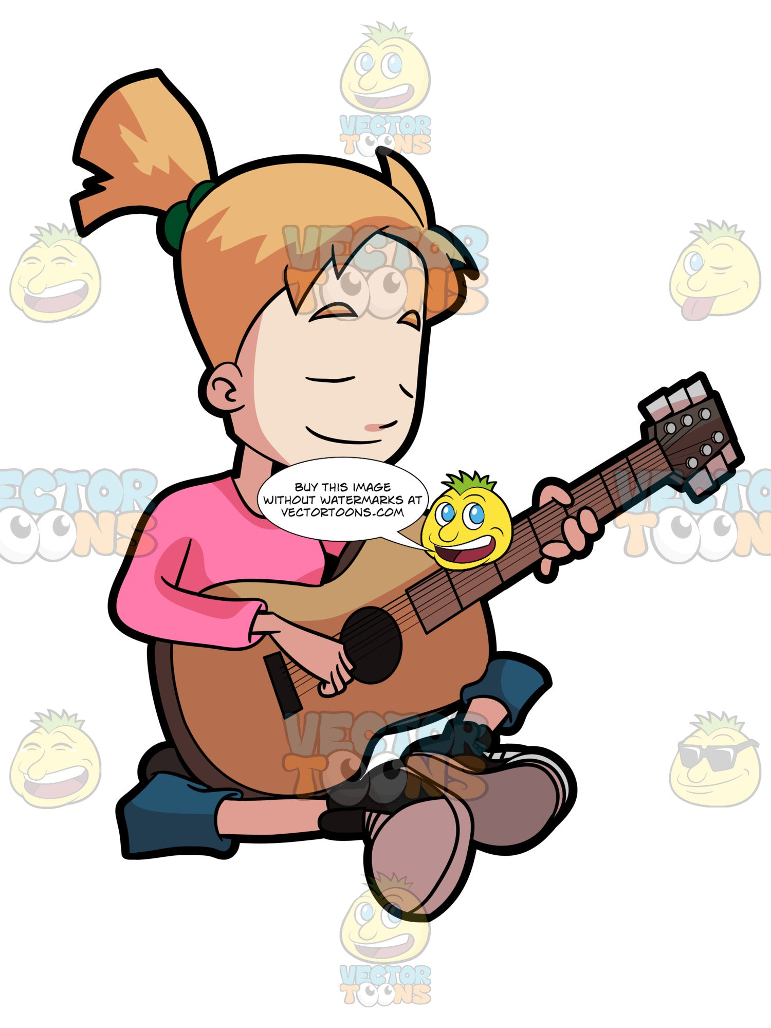 A Preadolescent Female Playing Her Guitar