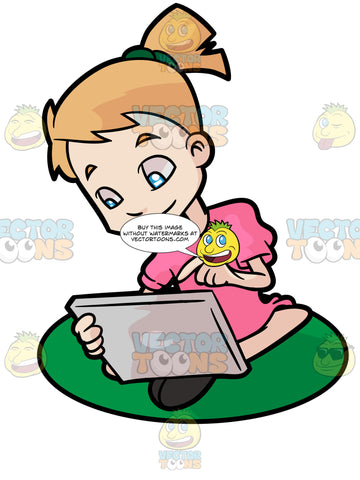 A Young Girl Playing With Her Mobile Tablet Device