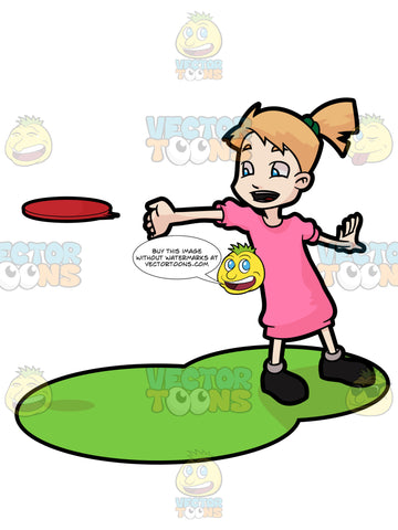 A Young Girl Enjoying A Game Of Frisbee