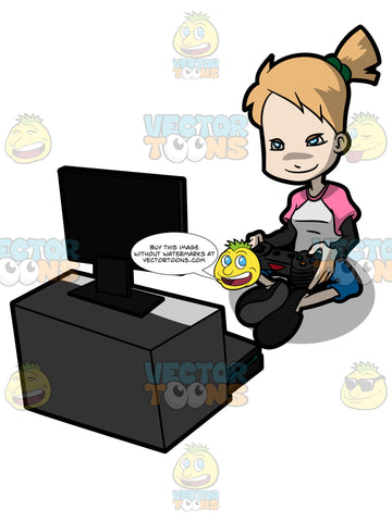 A Adolescent Female Playing A Video Game