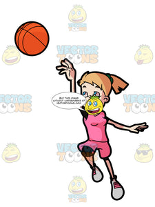A Adolescent Female Jumps Up In The Air While Playing Basketball