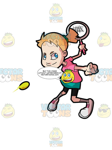 A Adolescent Female Hitting A Forehand Tennis Shot
