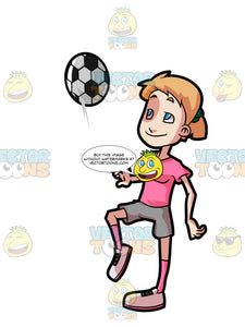 A Adolescent Female Warms Up Before Playing A Game Of Soccer