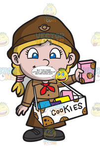 A Cute Girl Scout Selling Cookies