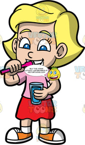 Mary Brushing Her Teeth In The Morning. A blonde girl wearing a red skirt, a pink t-shirt, and orange sneakers, holding a glass of water in one hand and brushing her teeth with the other