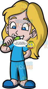 Young Stacey Brushing Her Teeth. A girl wearing blue pajamas and blue slippers, brushing her teeth with a green toothbrush