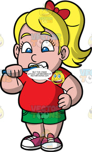 Young Pat Brushing Her Teeth Before School. A chubby blonde girl wearing green shorts, a red t-shirt, and purple shoes, brushing her teeth in the morning