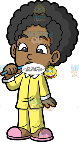 Young Jackie Brushing Her Teeth. A black girl wearing yellow pajamas and pink slippers, brushing her teeth with a blue toothbrush