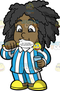 Young Lisa Brushing Her Teeth Before Bed. A black girl wearing blue and white striped pajamas and yellow slippers, holding a glass of water in one hand and brushing her teeth with the other
