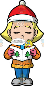 Young Mary Out Caroling. A blonde girl wearing blue pants, an orange coat, gray shoes, a blue scarf, pink gloves, and a red and white hat, holding a hymn book and singing carold
