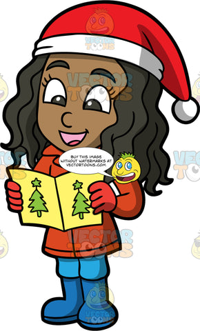 Young Maggy Singing Carols. A black girl wearing blue pants, blue boots, a dark orange coat, red gloves, and a red and white Santa hat, holding a hymn book and sing Christmas songs