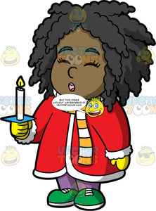 Young Lisa Singing Christmas Carols. A black girl wearing purple pants, green shoes, a long read coat, yellow gloves, and an orange and white striped scarf, holding a candle and singing carols