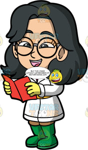 Young Lynn Singing Christmas Carols. An Asian girl wearing brown pants, a long white coat, green boots, yellow gloves, and round eyeglasses, holding a red hymn book and singing Christmas carols