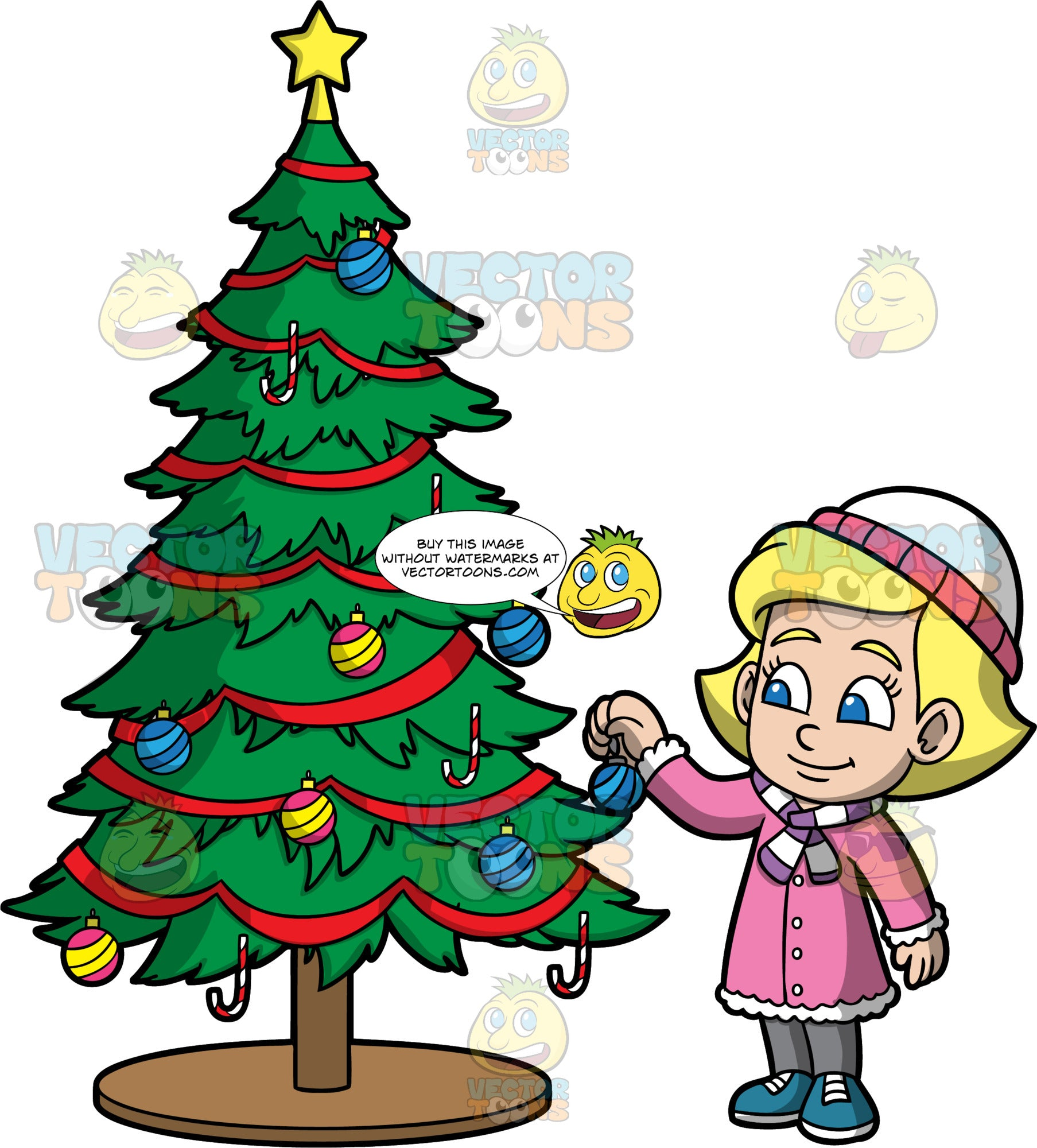 Young Mary Decorating A Christmas Tree. A blonde girl wearing gray pants, a pink coat, a purple and white striped scarf, and a white and pink hat, putting a Christmas ornament on a tree