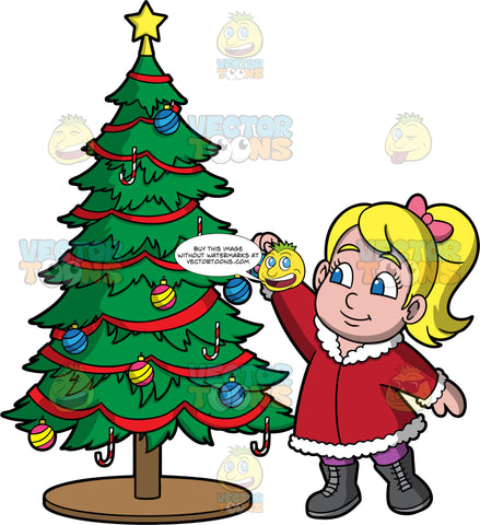 Young Pat Decorating A Christmas Tree. A blonde girl wearing purple pants, dark gray boots, and a red coat with white trim, reaching up to place an ornament on a Christmas tree
