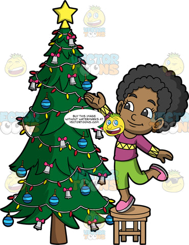 Young Jackie Putting Decorations On A Christmas Tree. A black girl wearing green pants, a purple with yellow sweater, and pink shoes, standing on a stool and putting ornaments on a Christmas tree