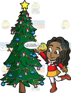 Young Maggy Decorating A Christmas Tree. A black girl wearing a yellow skirt, white tights, orange boots, and a red shirt, putting an ornament on a Christmas tree