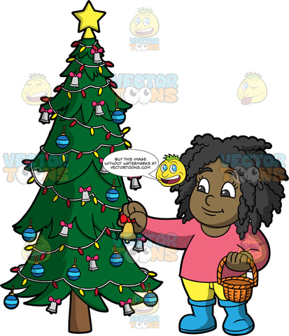 Young Lisa Putting Ornaments On A Christmas Tree. A black girl wearing yellow pants, a pink shirt, and blue boots, holding a basket in one hand and putting a bell on a Christmas tree with the other hand