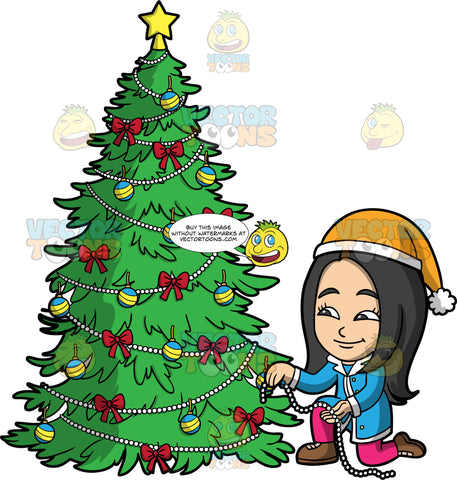Young Connie Trimming A Christmas Tree. An Asian girl wearing pink pants, a blue coat, brown shoes, and a yellow Santa hat, putting a string of pearls on a Christmas tree