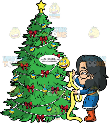 Young Lynn Trimming A Christmas Tree. An Asian girl wearing a long blue coat, gray pants, orange boots, and round eyeglasses, putting yellow ribbon on a Christmas tree