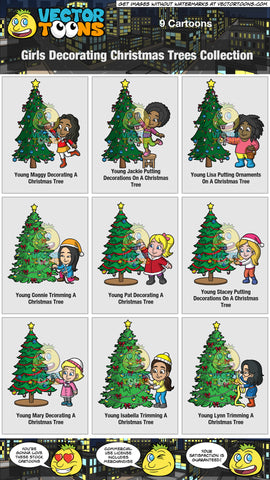 Girls Decorating Christmas Trees Collection