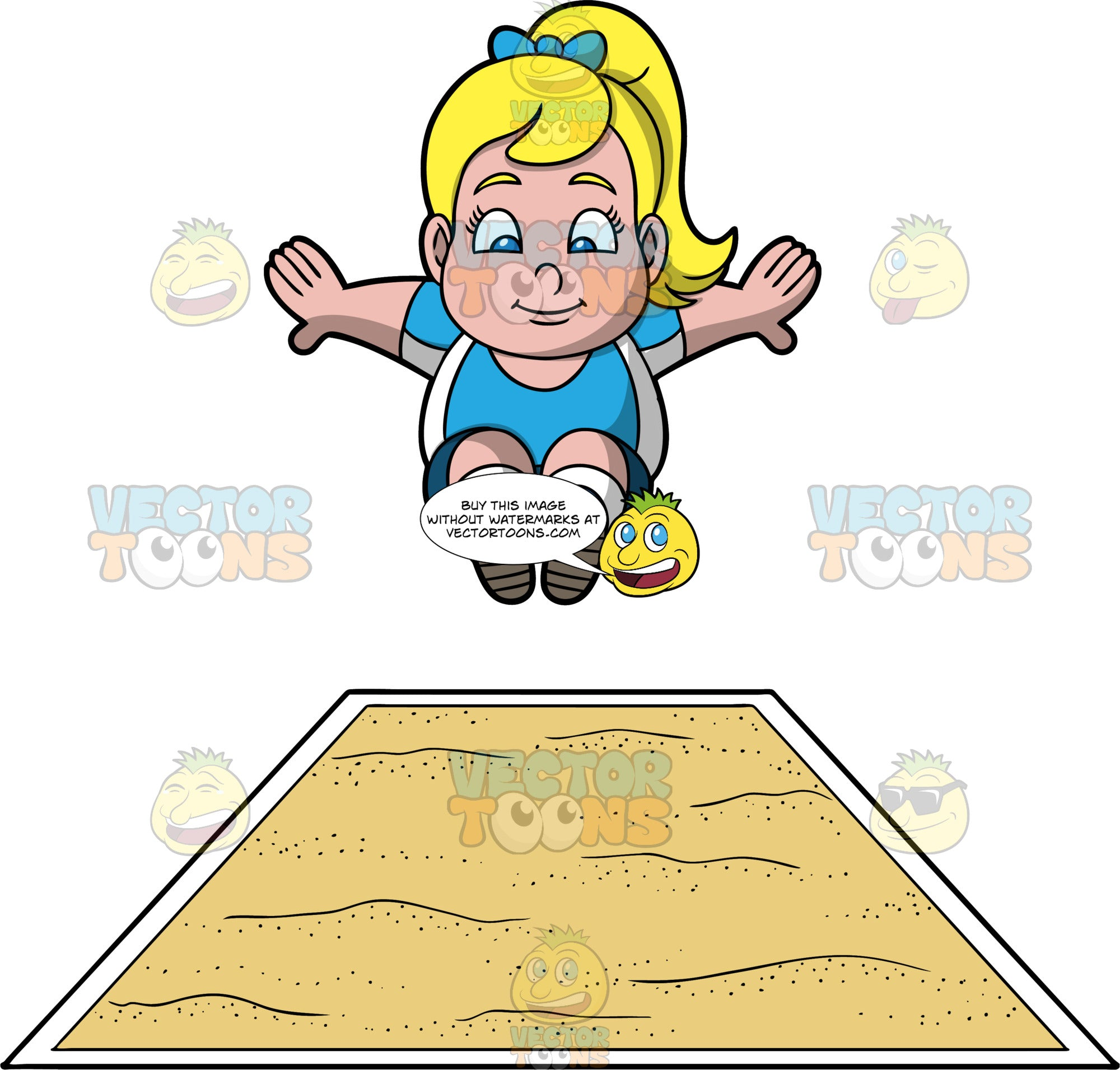 Young Pat Preparing To Land In A Long Jump Pit. A chubby blond girl wearing blue shorts, and a blue and white shirt, jumps and prepares to land in a long jump pit
