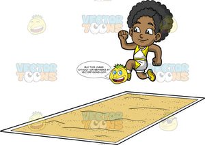 Young Jackie Jumping Into A Long Jump Pit. A young black girl wearing white with yellow shorts, a white and yellow tank top and yellow running shoes, jumps and gets ready to land in a long jump pit