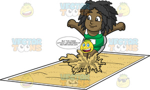 Young Lisa Landing In A Long Jump Pit. A young black girl wearing green with white shorts, and a green with white tank top, lands in a pit full of sand during a long jump competition