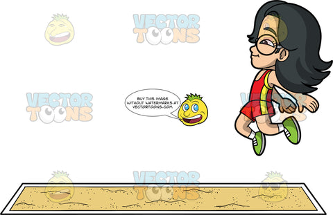 Young Lynn Doing The Long Jump. An Asian girl wearing red and yellow shorts, a red and yellow tank top, green running shoes, and round eyeglasses, jumping and preparing to land in a long jump pit